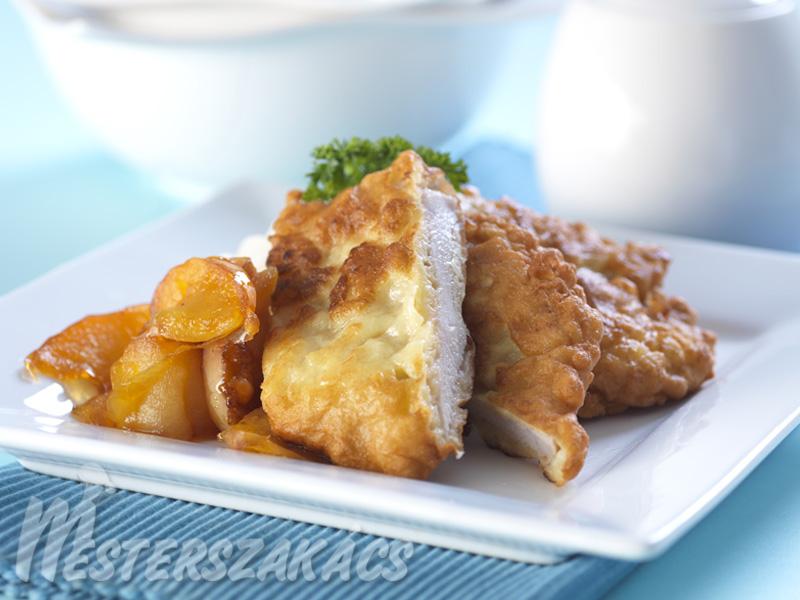 Almaköntösben sült csirkemell  grillezett almával recept