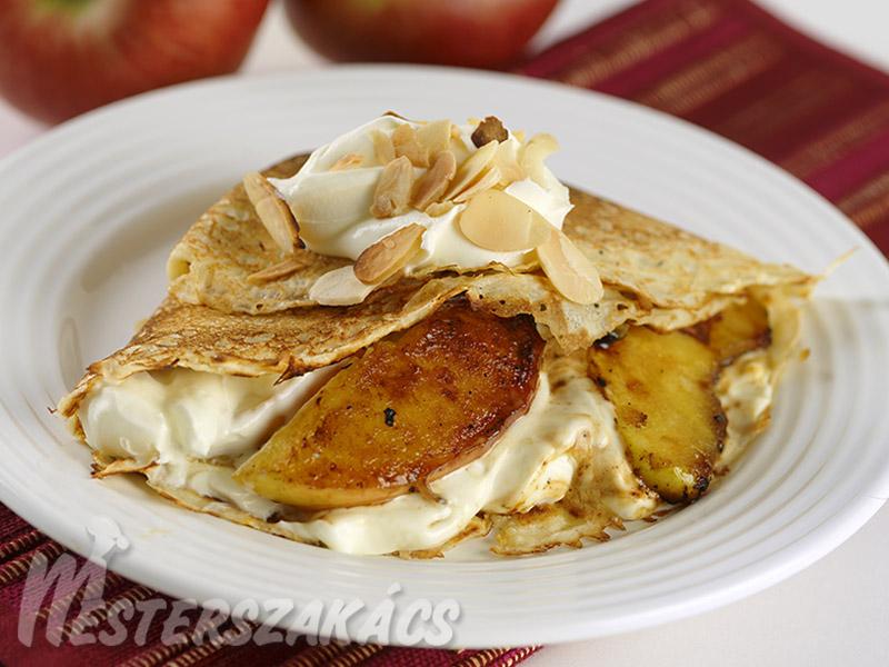 Amerikai almás palacsinta mascarpone krémmel recept