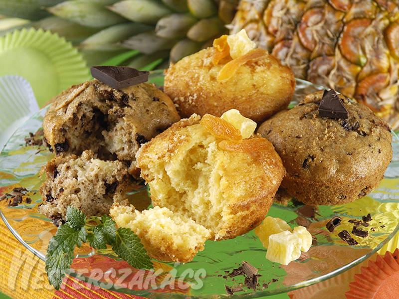 Ananászos és ananászos, csokoládés muffin recept