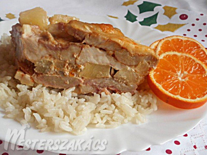 Ananászos rakott tarja recept