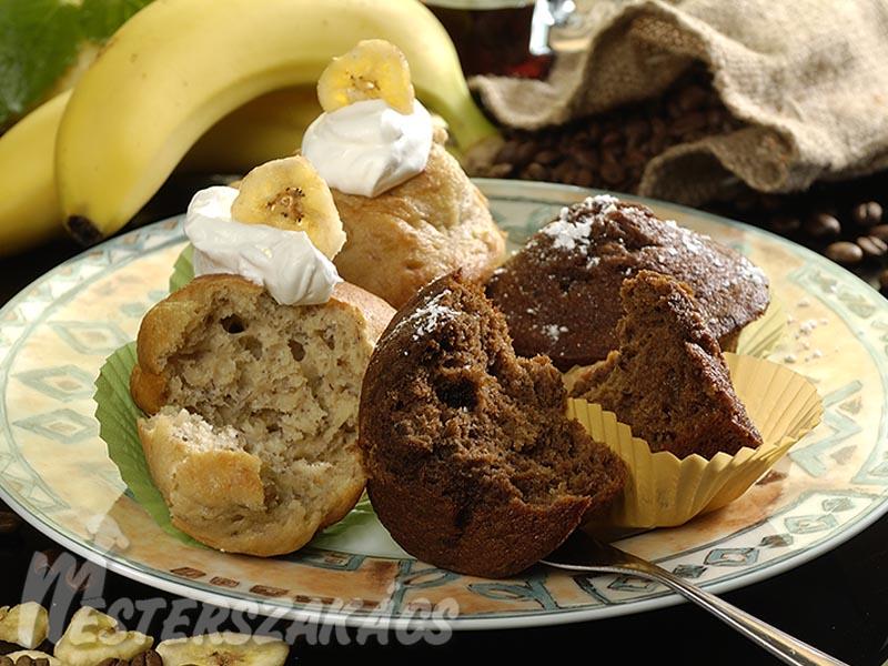 Banános, banáncsipszes és banános, kávés muffin recept