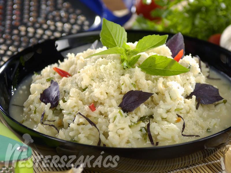 Bazsalikomos rizottó recept