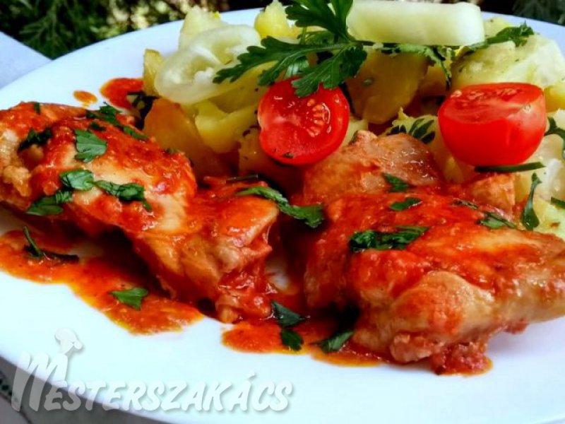 Bolognai csirkecomb petrezselymes burgonyával recept