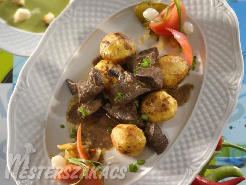 Brassói pulykamáj sült újburgonyával recept