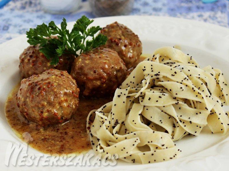 Citromos-mustáros húsgolyó, mákos metélttel recept
