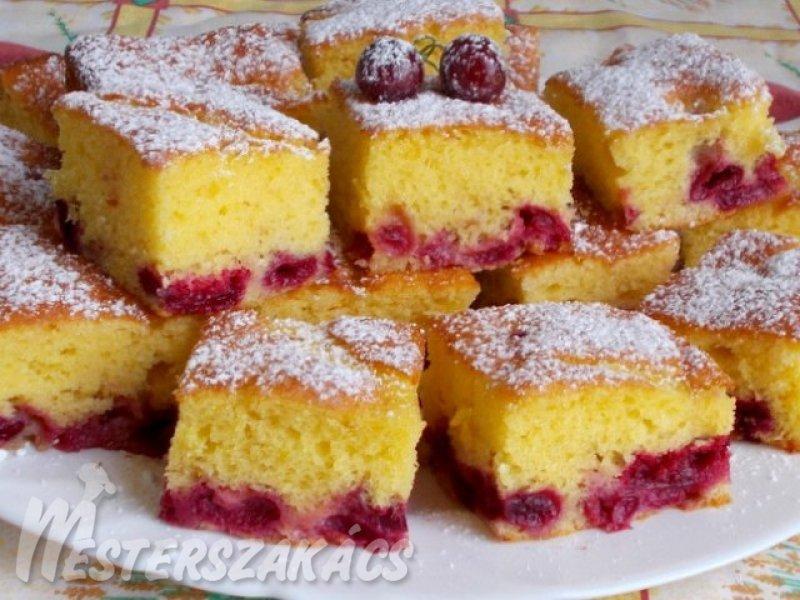 Cseresznyés-joghurtos, kevert sütemény recept