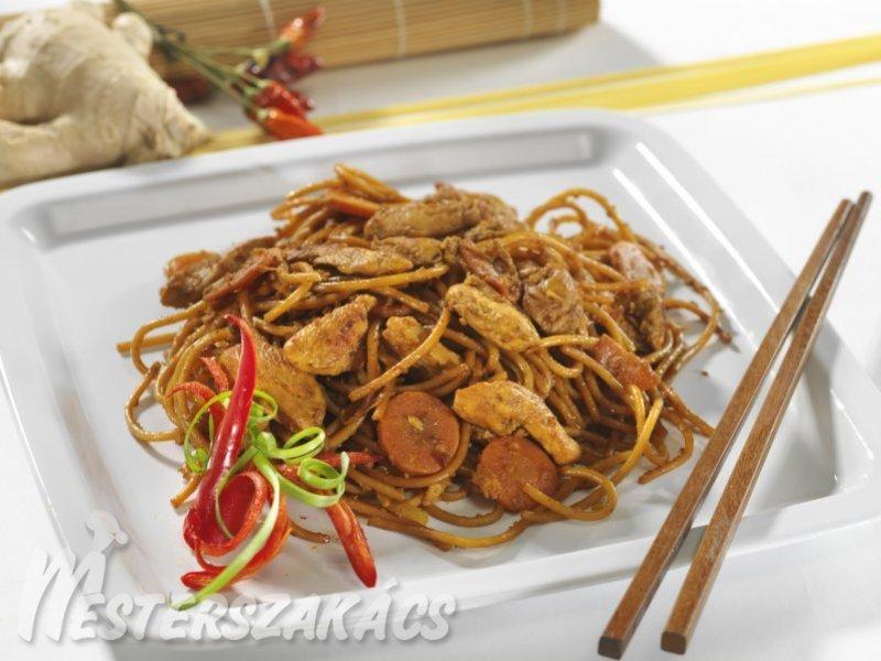 Csípős csirkés spagetti thai módra recept
