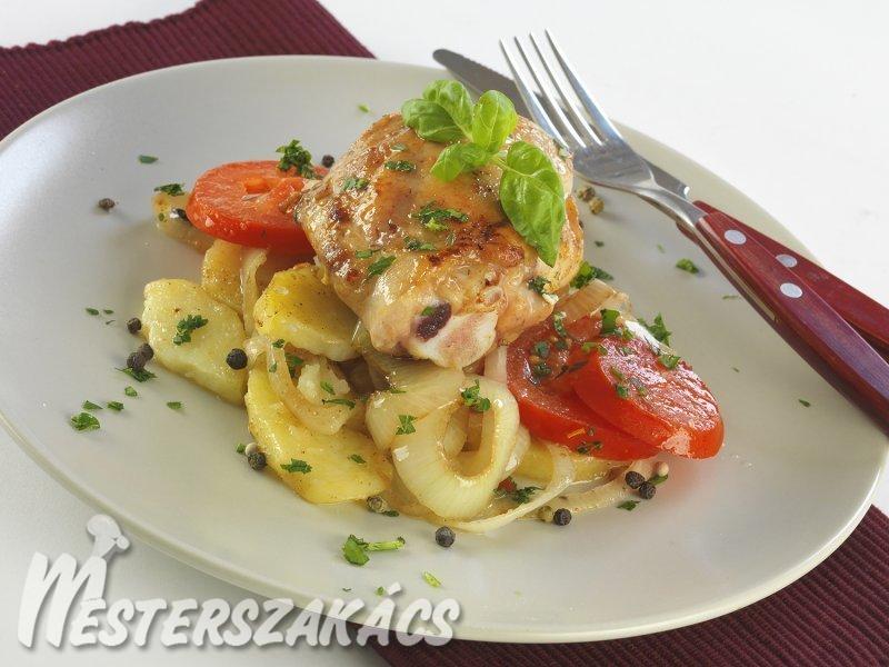 Csirkecombok görög burgonyával recept