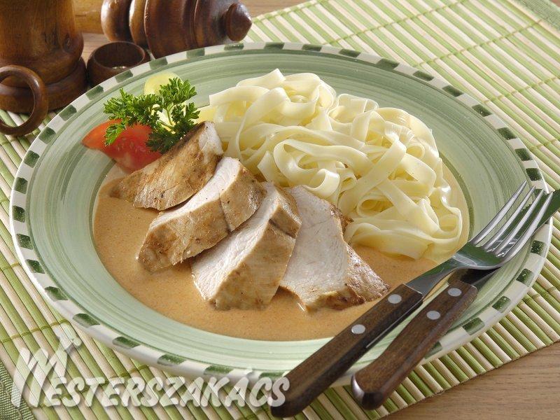 Csirkemell zöldségmártással recept