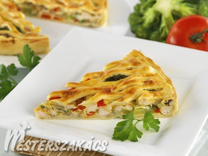 Csirkés-zöldséges, rácsos lepény recept