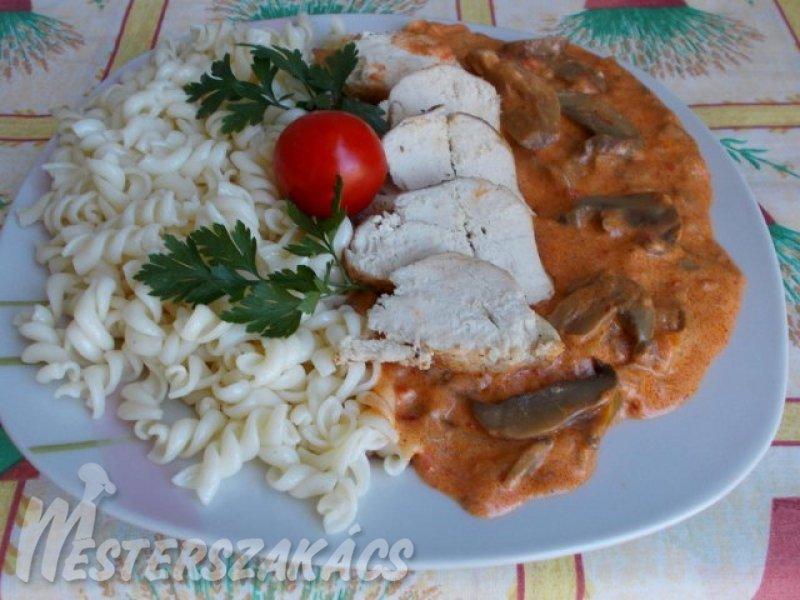 Csirkesült gombapaprikással recept