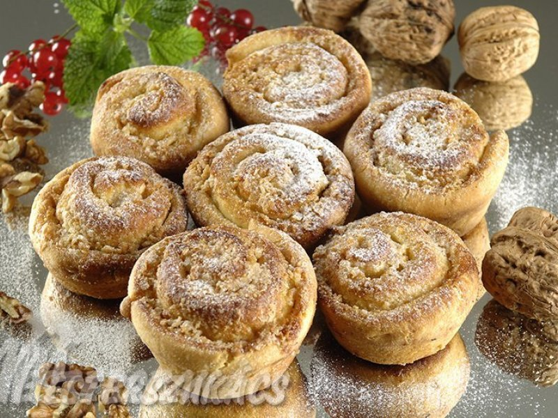Diós csiga muffinformában recept