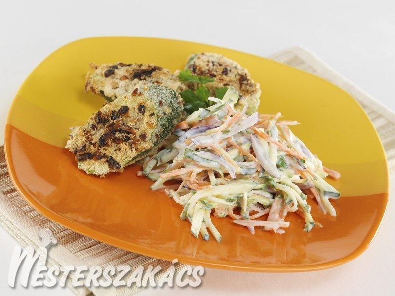 Diós rántott cukkini karcsúsító salátával recept