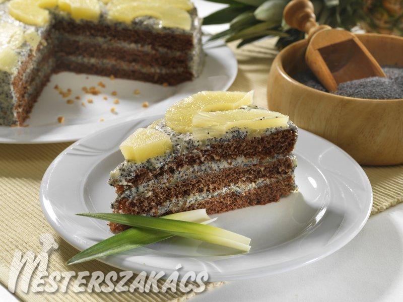 Diós torta ananászos mákkrémmel recept