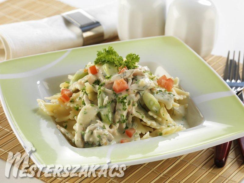 Farfalle tejszínes-bazsalikomos csirkeraguval recept