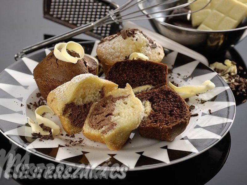 Fehér-fekete és fekete fehér muffin recept