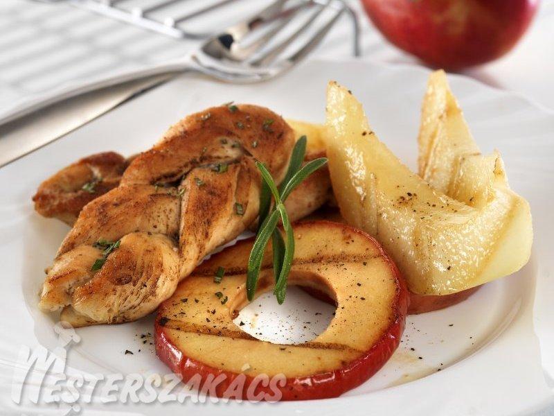 Fonott csirkemell, grillezett gyümölcsökkel recept