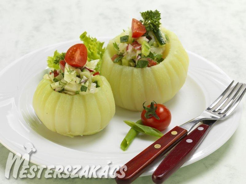 Fűszeres salátával töltött karalábé recept