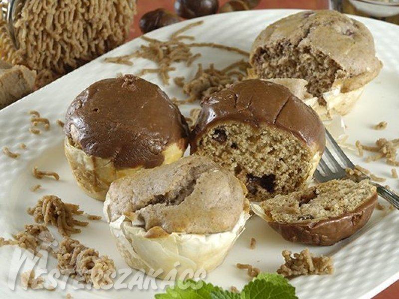 Gesztenyés, meggyes muffin recept