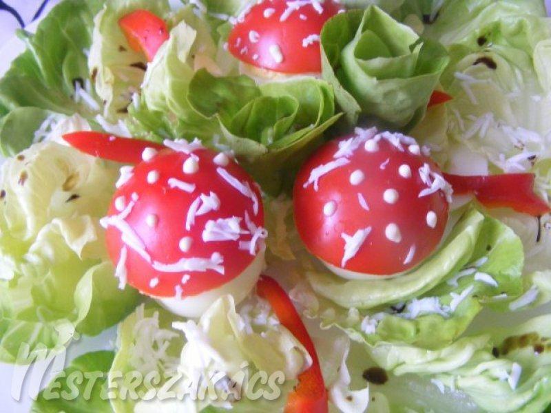 Gomba formájú töltött tojás recept