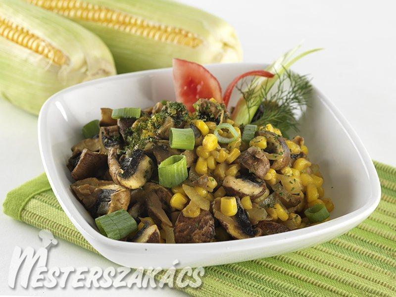 Gombás kukorica keletiesen recept