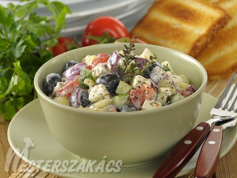 Görög saláta majonézöntettel recept