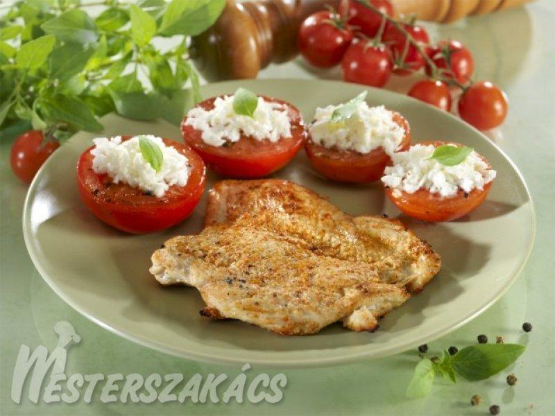 Grillezett csirkemell mozzarellás, sült paradicsommal recept