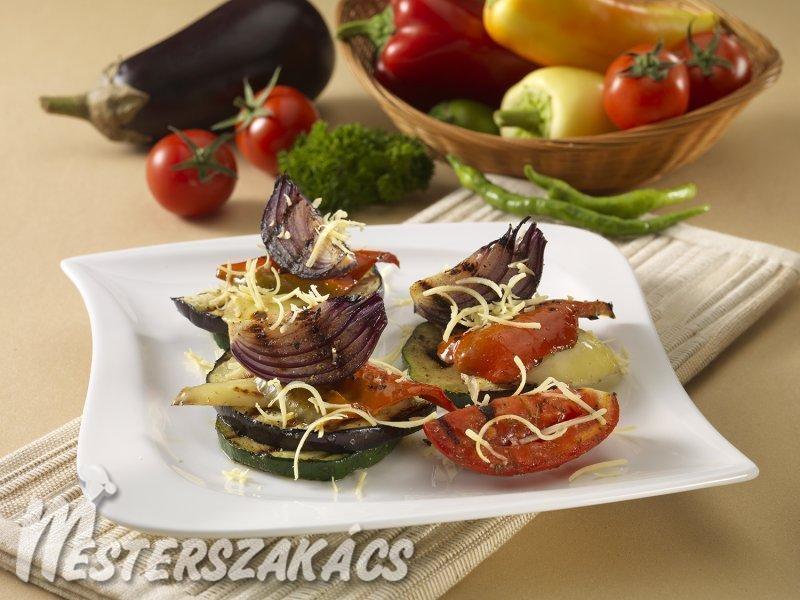 Grillezett kerti zöldségek sajttal recept