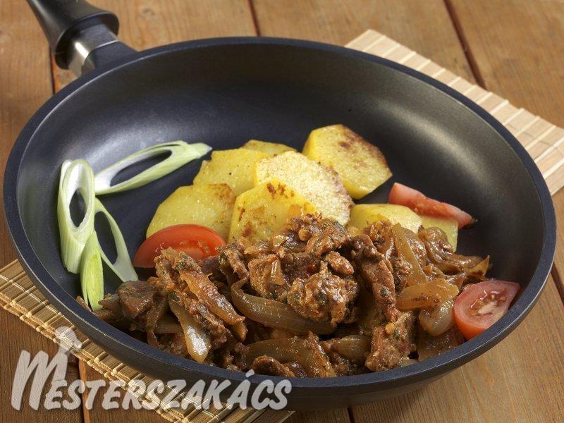 Hagymás, serpenyős hús recept