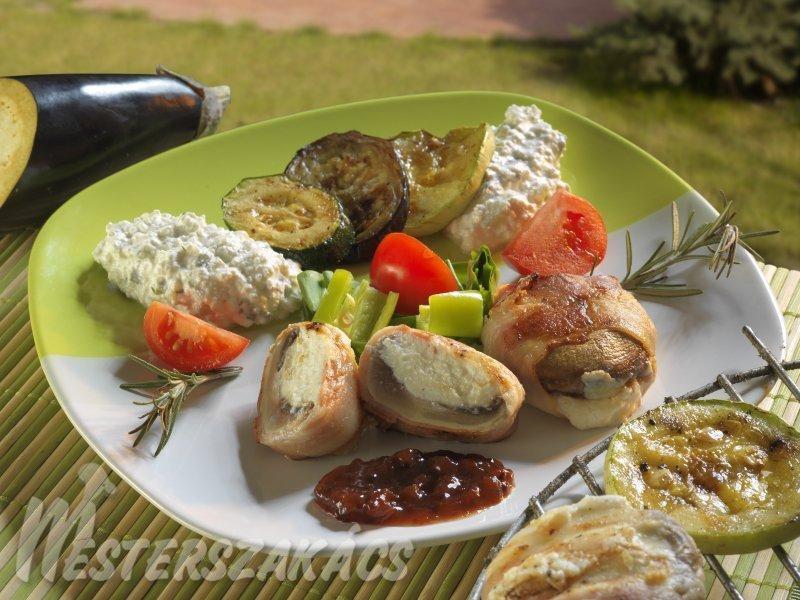 Juhtúróval töltött gombafejek és sült zöldségek, fűszeres túróval recept