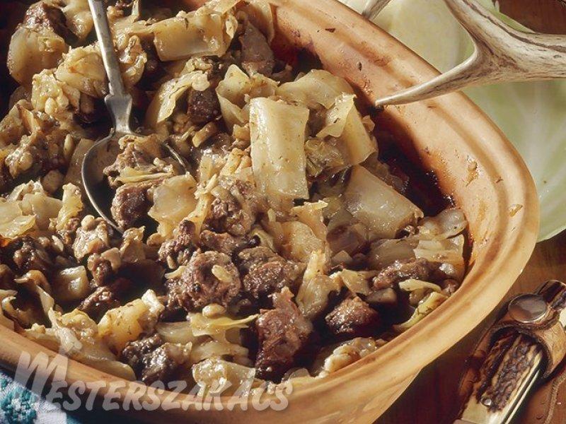 Káposztás őz cseréptálban sütve recept