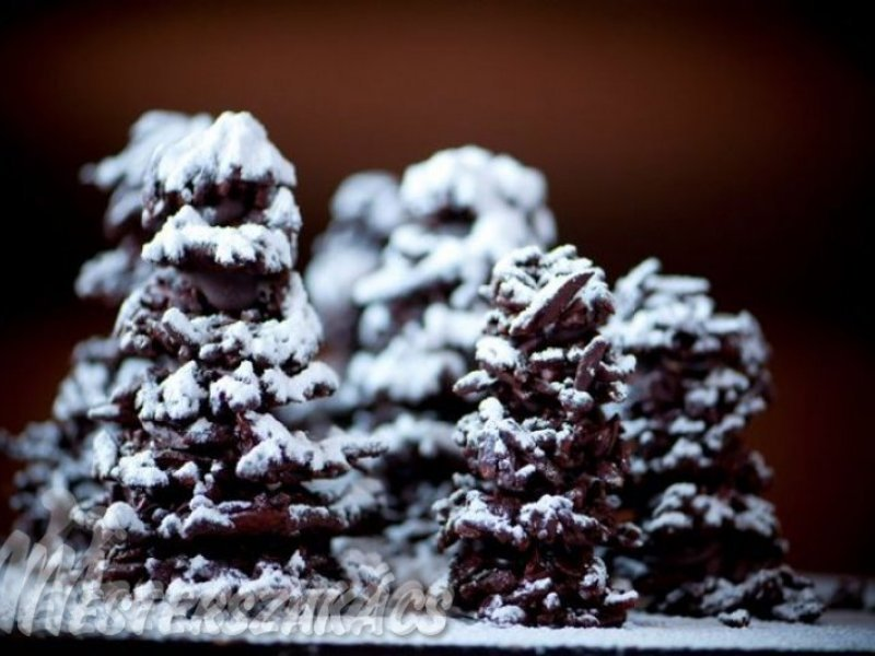 Karácsonyfa csokiból és mandulából recept
