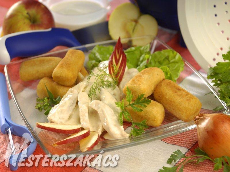 Konyakos-almás csirkecsíkok recept