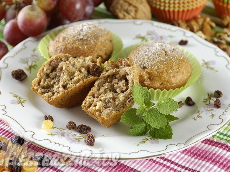 Korpás, mazsolás muffin recept
