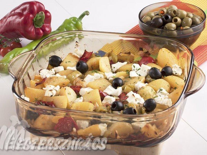 Krumpli törökösen  (paprikával, olajbogyóval, juhsajttal) recept