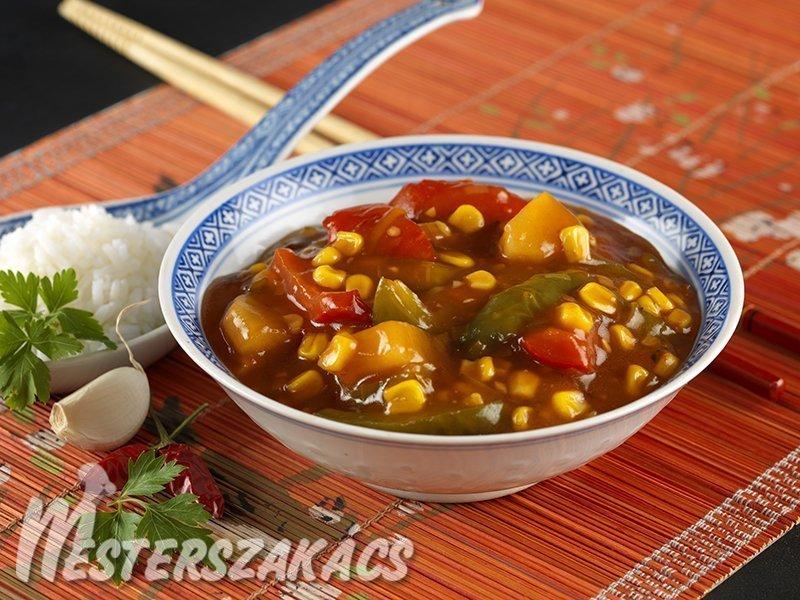 Kukorica kínaiasan  (édes-savanyú mártásban) recept