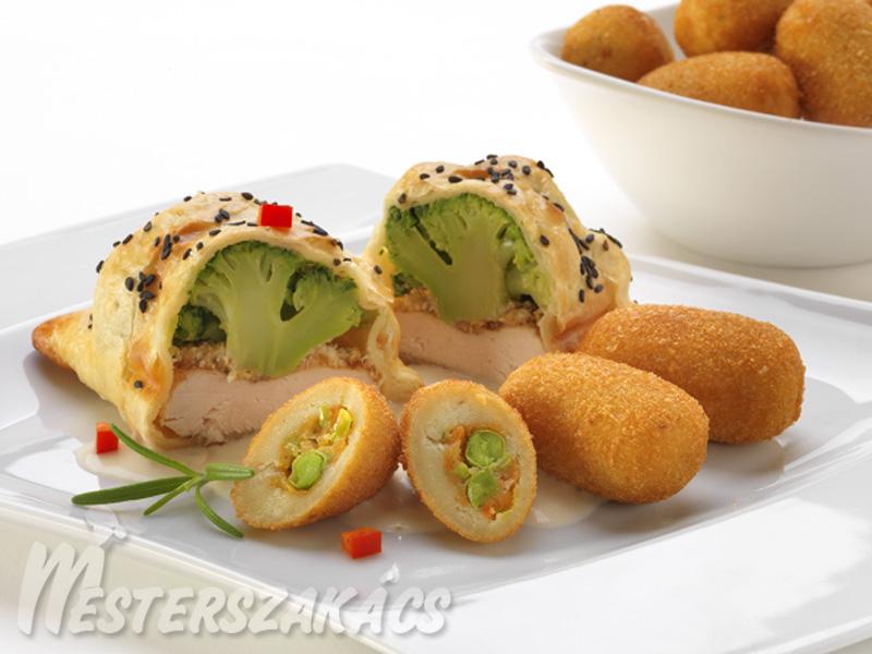 Leveles tésztában sült brokkolis csirkemell sajtmártásban, mexikói burgonyakrokettel recept