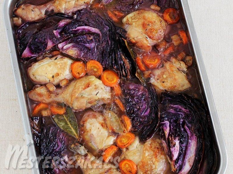 Lilakáposztás-boros csirkecomb recept