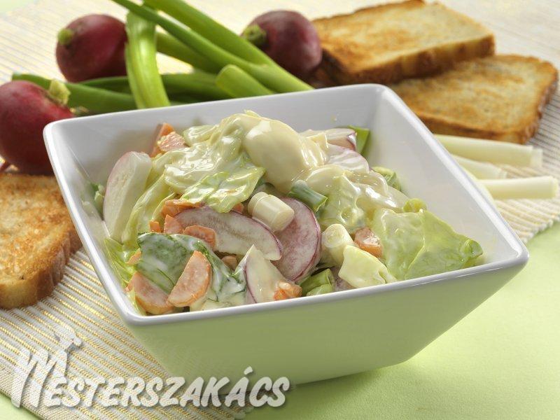 Majonézes tavaszi zöldségsaláta recept