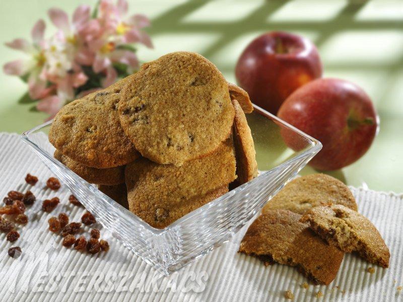 Mazsolás, almás keksz recept