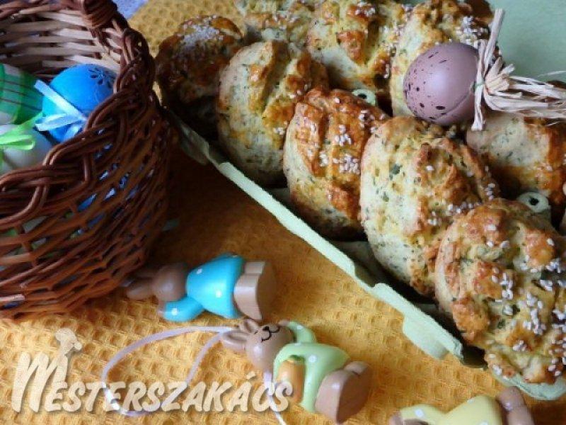 Medvehagymás -sonkás pogácsa recept