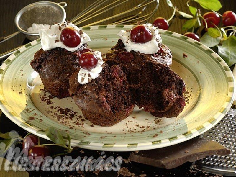 Meggyes, csokoládés muffin recept