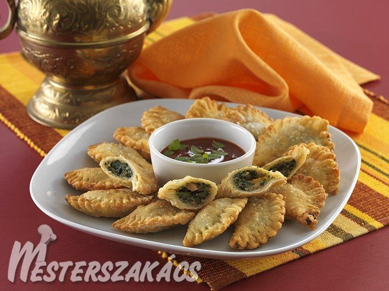 Moagganat szabanih  (spenótos, mogyorós tésztabatyuk) recept