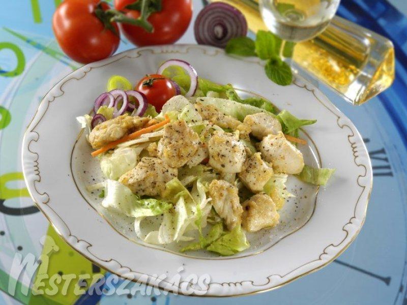 Mustáros, mézes csirke zöldsalátával recept