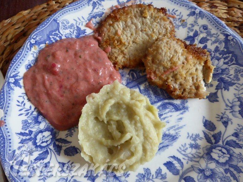 Mustáros szelet kétféle pürével recept