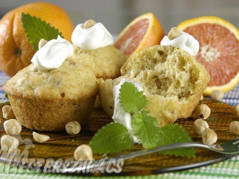 Narancsos, mogyorós muffin recept