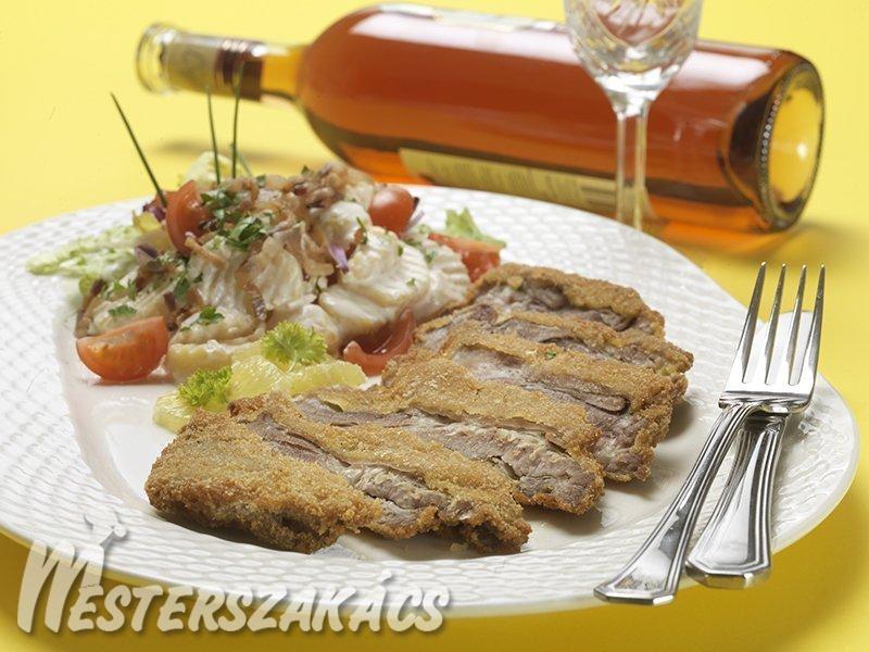 Rántott báránymell kondorosi krumplisalátával recept