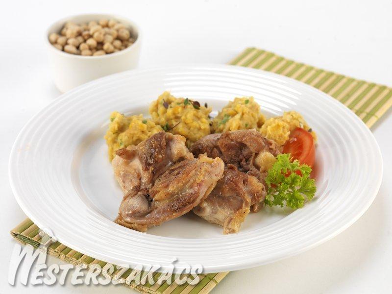 Rozmaringos csirkecombfilé roston, csicseriborsó pürével recept
