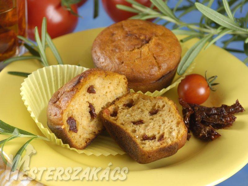 Rozmaringos, duplán paradicsomos muffin  recept
