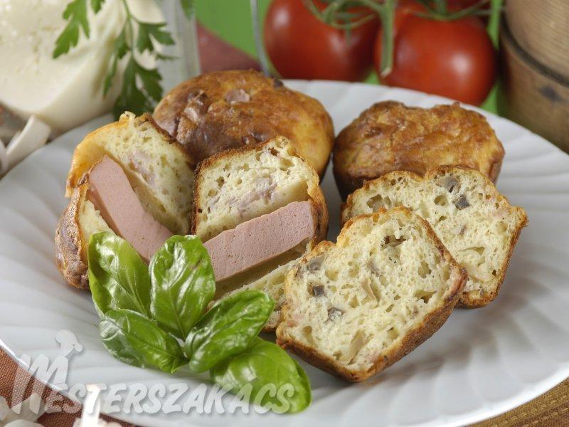 Sajtos, gombás, szalonnás és  sajtos, minivirslis muffin recept